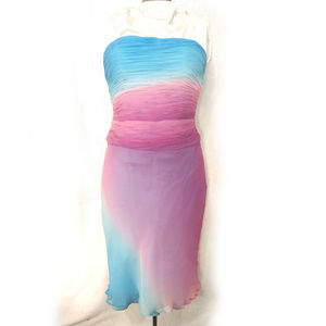 Gilar Cyan and Purple/Pink Ombre Silk Dress